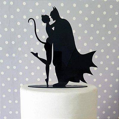 Topo De Bolo Temático (Batman e Mulher Gato) - 20cm (maior lado da peça) - Cor à Escolher