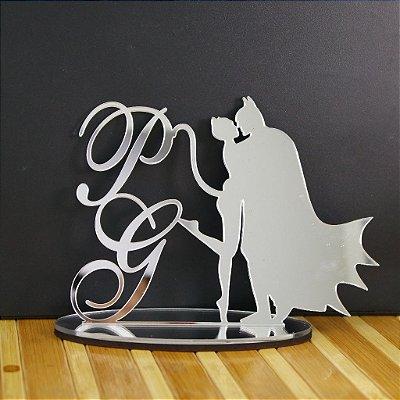 Topo De Bolo Temático (Batman e Mulher Gato) Personalizado - 14cm (maior lado da peça) - Cor à Escolher