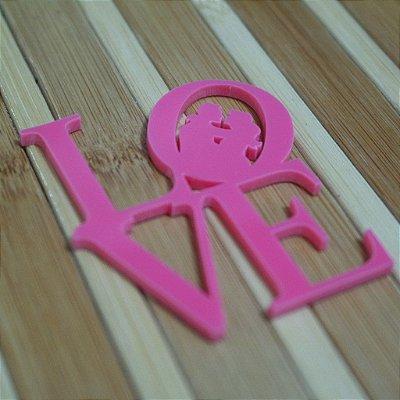 20 Tags Para Convites e Caixas em Acrílico Rosa LOVE