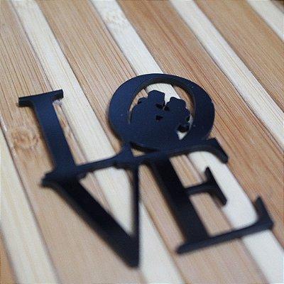 20 Tags Para Convites e Caixas  em Acrílico Preto LOVE
