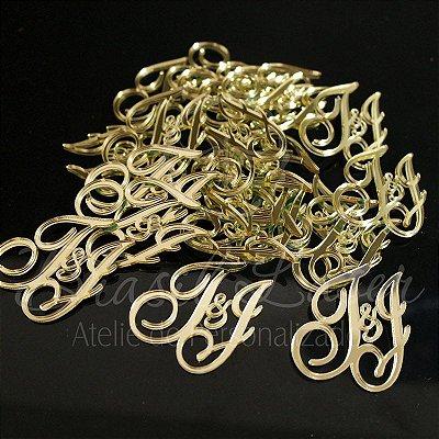 20 Tags Para Convites e Caixas Personalizadas em Acrílico Espelhado Dourado com as Iniciais que o Cliente Desejar