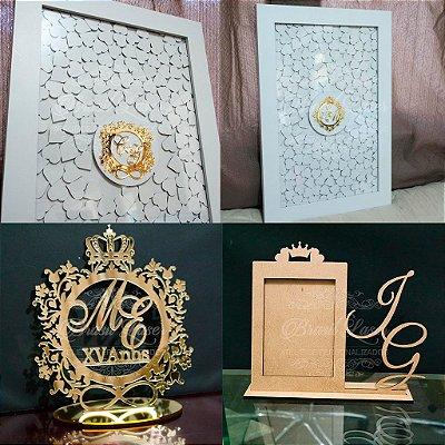 Kit 15 Anos ou Casamentos Premium! 1 Quadro de Assinaturas Branco+ 1 Topo de Bolo Espelhado Dourado+ 1 Porta Retrato Branco personalizado