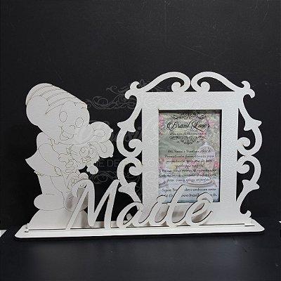 Porta Retrato da Mônica com Nome Personalizado em Mdf Branco