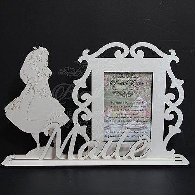 Porta Retrato da Alice no País das Maravilhas com Nome Personalizado em Mdf Branco