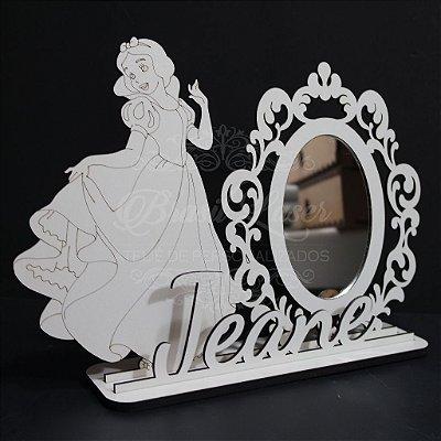 Espelho para Penteadeira Princesa com Nome Personalizado em Mdf Branco