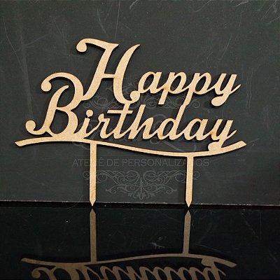 Topo De Bolo de Fincar - Happy Birthday - Cor à Escolher
