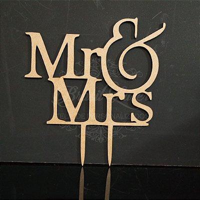 Topo De Bolo de Fincar - Mr & Mrs - Cor à Escolher