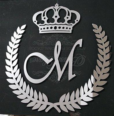 Ramagem com Inicial e Coroa Acrílico Espelhado Prata Personalizado - Vários Tamanhos