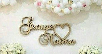 Nome do Casal com coração Personalizado Para Parede Vários Tamanhos / Materiais com as Iniciais ou Nome que o Cliente Desejar