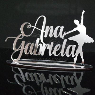 Topo De Bolo Personalizado Bailarina - Tamanho 20cm (maior lado da peça) - Cor à Escolher