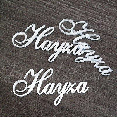 20 Nomes Para Convites ou Caixinhas Personalizadas em Acrílico Espelhado Prata com o nome que o Cliente Desejar