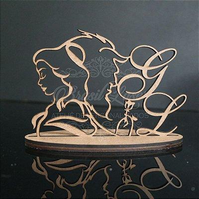 Topo de Bolo A Bela e a Fera Personalizado - Tamanho com 20 cm (maior lado da peça) - Cor à Escolher