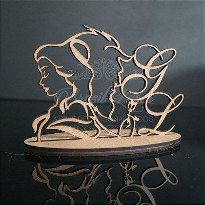 Topo de Bolo A Bela e a Fera Personalizado  - Tamanho com 14 cm (maior lado da peça) - Cor à Escolher