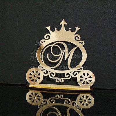 Topo de Bolo Carruagem Personalizado - Tamanho com 20 cm (maior lado da peça) - Cor à Escolher
