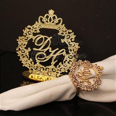 Kit Promocional Compre 200 Porta Guardanapos Pintados de Dourado e GANHE 1 Topo de Bolo Espelhado Dourado