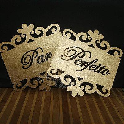 Par de Placas Para Cadeiras dos noivos Pintada ou Sem pintura Par Perfeito - Opções de cor dentro do anuncio.