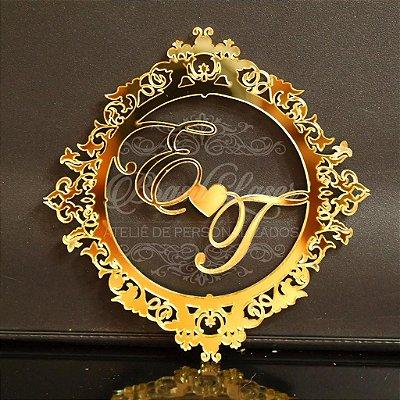 Monograma em Acrílico Espelhado Prata ou Dourado com 7 cm de altura