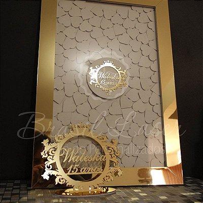 Kit Promocional! 1 Topo de Bolo Dourado 20 cm + 1 Quadro de Assinaturas Branco com Moldura Dourada