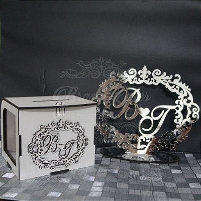 Kit Promocional! 1 Topo de Bolo Espelhado Prata 20 cm + 1 Cofrinho com Brasão Mdf Branco