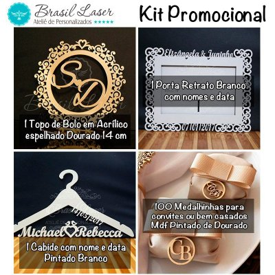 Kit Promocional! 1 Topo de Bolo Espelhado Dourado 14 cm + 100 Pingentes mdf Dourados + 1 Porta Retrato Branco + 1 Cabide Branco +