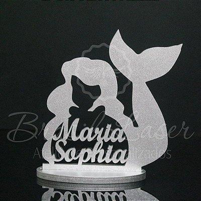 Topo De Bolo Sereia - Tamanho com 20cm (maior lado da peça) - Cor à Escolher