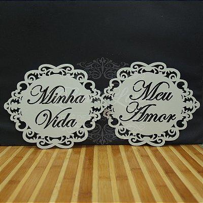 Par de Placas Para Cadeiras dos noivos - Minha Vida Meu Amor - Opções de cor e preços dentro do anuncio.