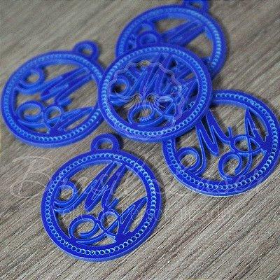 20 Medalhas Para Convites e Caixas Personalizadas em Acrílico Azul com as Iniciais que o Cliente Desejar