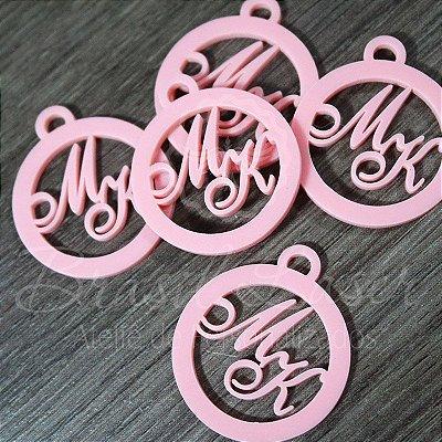 20 Medalhas Para Convites e Caixas Personalizadas em Acrílico Rosa com as Iniciais que o Cliente Desejar