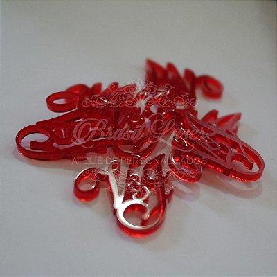 Tags Para Convites e Caixas Personalizadas em Acrílico Vermelho com as Iniciais que o Cliente Desejar