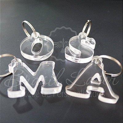 Chaveiros Premium Personalizados Cortados com Iniciais em Acrílico 6mm (Grosso) Transparente - Escolha a Quantidade dentro do Anuncio