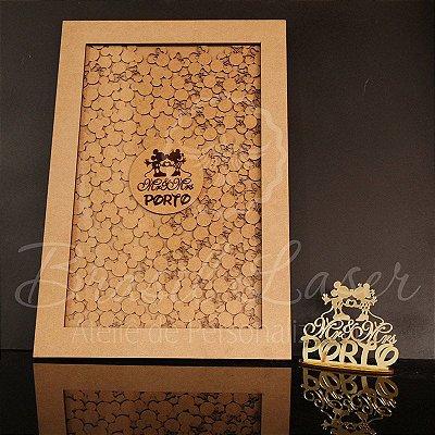 KIT Mickey e Minnie ! 1 Topo de Bolo Dourado 14 cm + 1 Quadro de Assinaturas