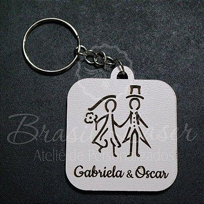 Chaveiros para Lembrança de Casamento em Mdf Branco com Gravação - Escolha a Quantidade dentro do Anuncio
