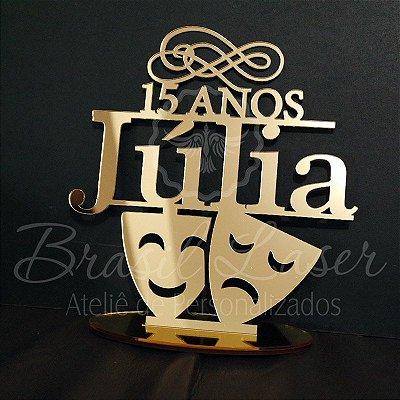 Topo De Bolo 15 anos com Máscaras  - Tamanho com 20 cm (maior lado da peça) - Cor à Escolher