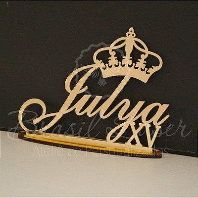 Topo de Bolo XV com coroa - Tamanho com 20 cm (maior lado da peça) - Cor à Escolher