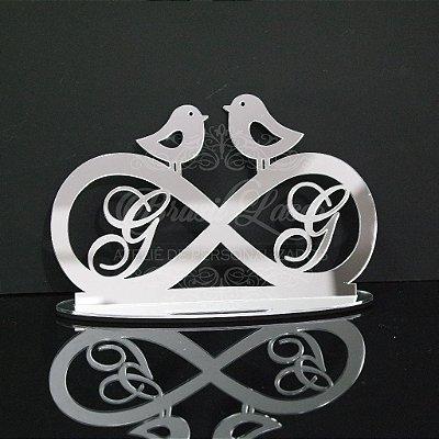 Topo de Bolo Infinito com Passarinhos - Tamanho com 20 cm (maior lado da peça) - Cor à Escolher