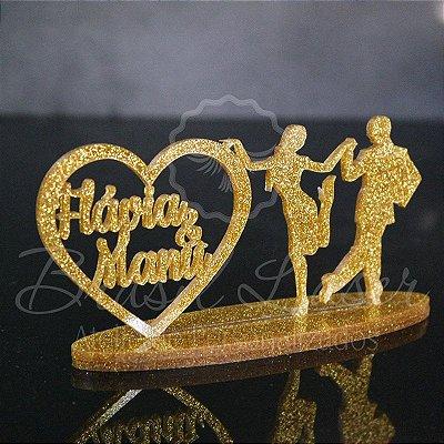 Topo de Bolo Casal de Dançarinos  - Tamanho com 20 cm (maior lado da peça) - Cor à Escolher