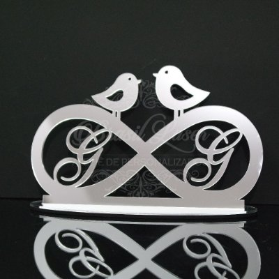 Topo de Bolo Infinito com Passarinhos - Tamanho com 14 cm (maior lado da peça) - Cor à Escolher