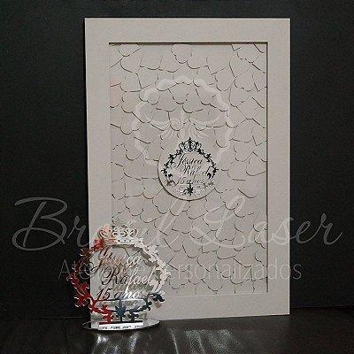 Kit Promocional! 1 Topo de Bolo Prata 20 cm + 1 Quadro de Assinaturas Branco com Prata