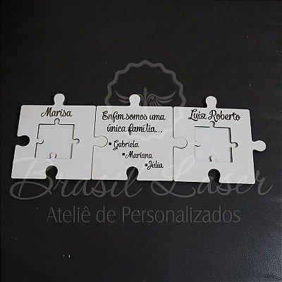 Trio de Porta Alianças de Quebra Cabeças Personalizado