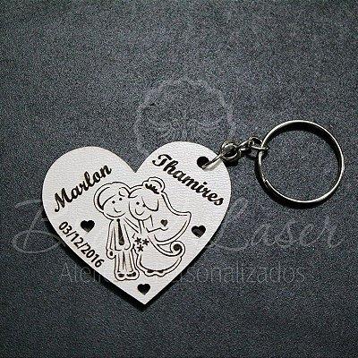 1 Chaveiro Personalizado para Lembrança de Casamento  com Gravação a laser (Minimo 10 unidades por pedido) - Selecionar Material/cor dentro do anuncio