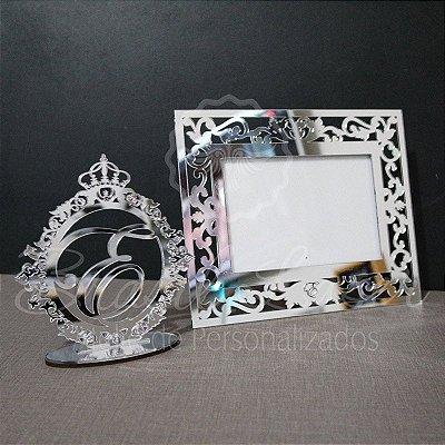 1 Topo de Bolo Acrílico Espelhado Prata 14 cm + 1 Porta Retrato em Acrílico Espelhado Prata