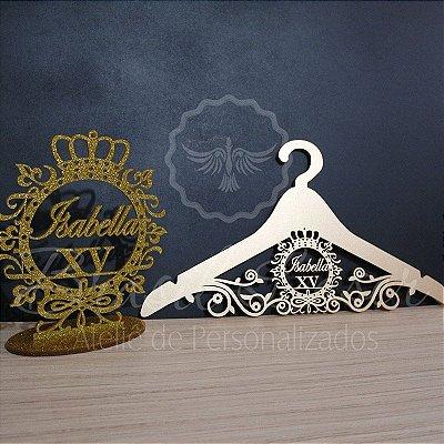 1 Topo de Bolo Acrilico Purpurinado Dourado 20 cm + 1 Cabide Personalizado Pintado de Dourado