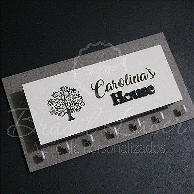 Porta Chaves com Porta Carta para Parede Personalizado (Fundo Mdf Cinza com detalhe em Acrílico Preto)