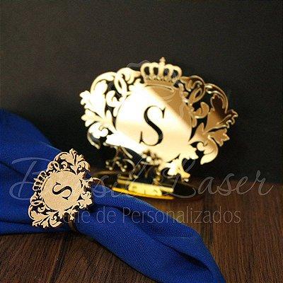 Kit - 100 Porta Guardanapos Pintados de Dourado + 1 Topo de Bolo Espelhado Dourado 14 cm