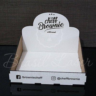 10 Expositores de Brownie / Alfajor / Palha Italiana / Cake / Pão de Mel com 20x20cm em Mdf Branco com logomarca gravada