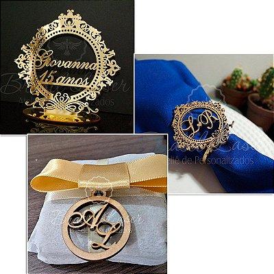 1 Topo de Bolo Acrilico Espelhado Dourado 20 cm + 260 Porta Guardanapos + 260 Medalhinhas de Bem casado