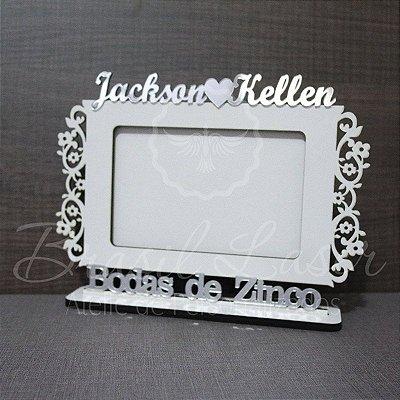 Porta Retrato Bodas de Zinco, Branco com Acrílico Espelhado foto 10cmx15cm Personalizado no nome do Casal
