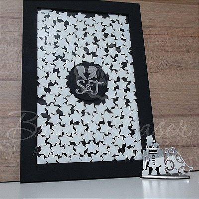 Kit Perfil Mulher e Homem ! 1 Topo de Bolo Prata 14 cm + 1 Quadro de Assinaturas Preto, Branco com Prata