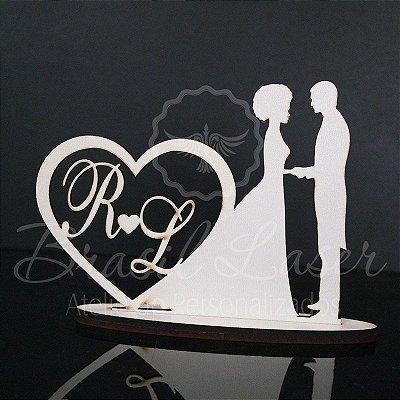 Topo De Bolo Noiva com Cabelo Crespo/Afro- Tamanho com 20cm (maior lado da peça) - Cor à Escolher