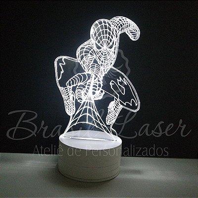 Abajur Luminária de Led sem Fio com Acrílico Grosso Iluminado - Spiderman / Homen Aranha 3D - Veja opções de Tamanho no Anúncio